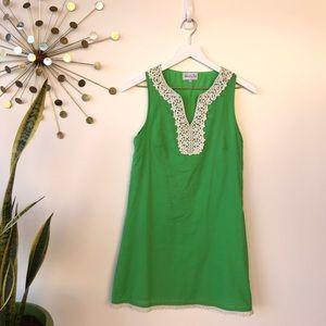 Mud Pie green sleeveless shift dress size small